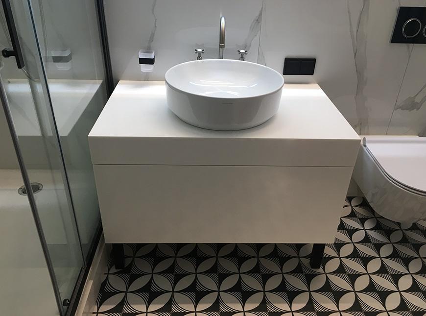 Тумба для ванной из акрилового камня Staron Bright White BW010 – фото 1 – Modern Acrylic Stone