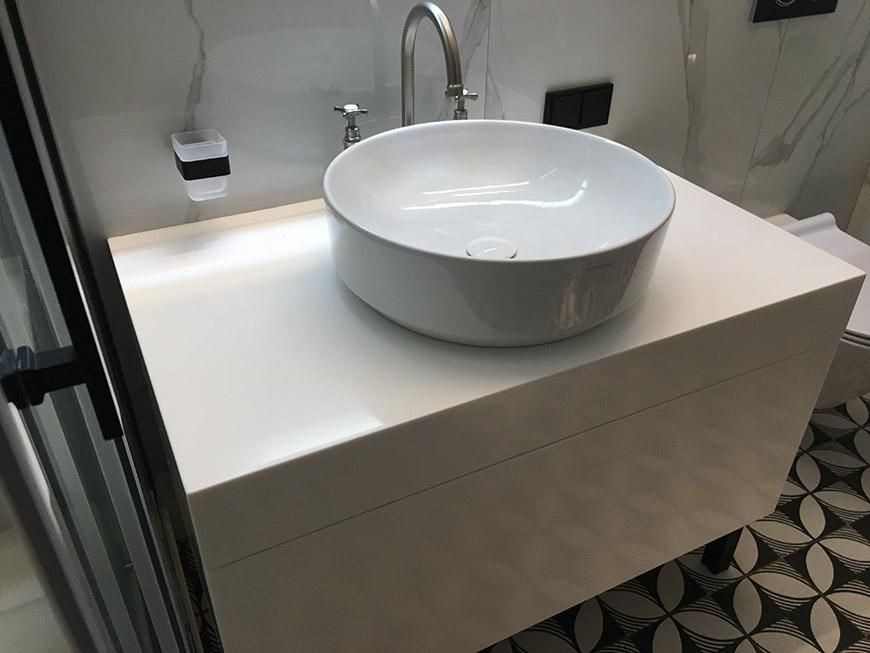 Тумба для ванной из акрилового камня Staron Bright White BW010 – фото 3 – Modern Acrylic Stone
