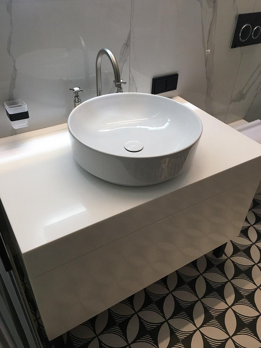 Тумба для ванной из акрилового камня Staron Bright White BW010 – фото 4 – Modern Acrylic Stone